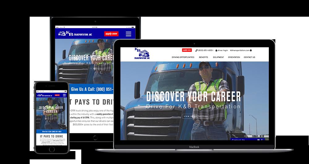 K&B Transportation Recruiting web design mock up on laptop, iPad & iphone