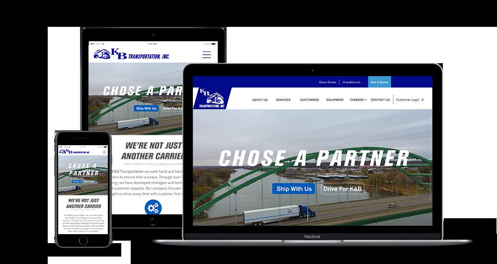 Corporate website mock up on laptop, iPad & iphone