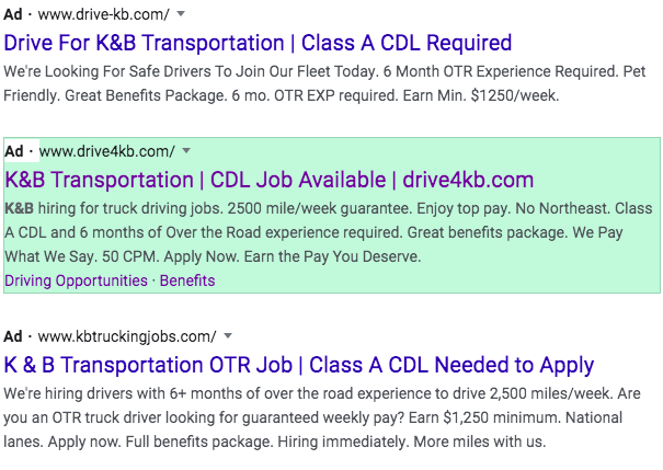 K&B Transportation pay per click campaign