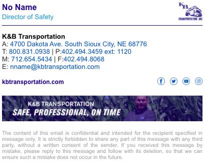 K&B Transportation html email signature