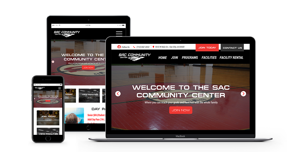 Sac Community Center web design Mockup